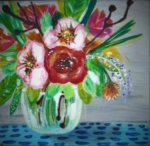 Flowers in Vase Grey