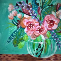 Flowers in Vase Teal