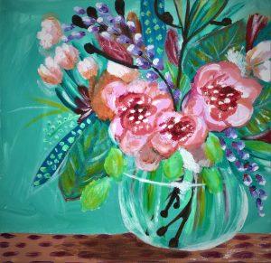 Flowers in Vase Teal